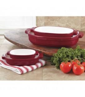 Набор керамических кастрюль красный KitchenAid KBLR04NSER