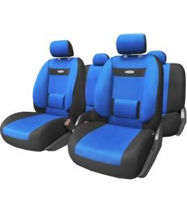 Чехлы на сиденье AUTOPROFI COMFORT COM-1105 BLACK/BLUE (M) с ортопедической поддержкой, велюр (11шт)