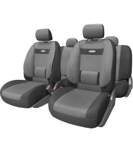 Чехлы на сиденье AUTOPROFI COMFORT COM-1105 BLACK/DARK GREY (M) с ортопедической поддержкой, велюр (11шт)