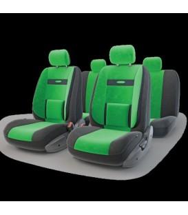 Чехлы на сиденье AUTOPROFI COMFORT COM-1105 BLACK/GREEN (M) с ортопедической поддержкой, велюр (11шт)
