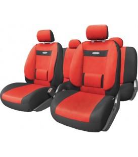 Чехлы на сиденье AUTOPROFI COMFORT COM-1105 BLACK/RED (M) с ортопедической поддержкой, велюр (11шт)