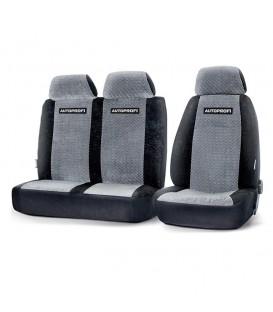 Чехлы на сиденье AUTOPROFI GAZ-002 BLACK/GREY передние велюр (1+2)