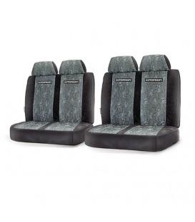 Чехлы на сиденье AUTOPROFI GAZ-003 BLACK/GREY передние жаккард (1+2)