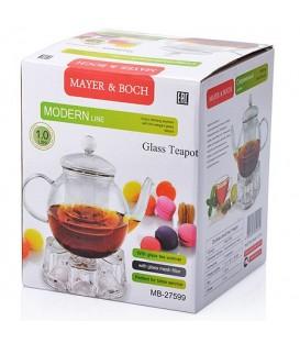 Чайник заварочный с подогревом Mayer&Boch 1л стекло 27599
