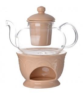 Чайник заварочный с подогревом Lorain 0,6л стекло 27563