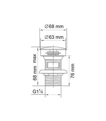Донный клапан Push-up WasserKRAFT A024 хром