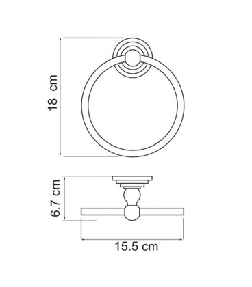Держатель полотенец кольцо WasserKRAFT К-7360