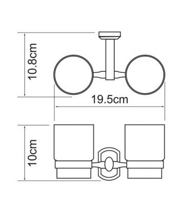 Подстаканник двойной стеклянный WasserKRAFT хром K-3028D