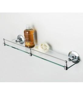Полка стеклянная с бортиком WasserKRAFT хром K-6244