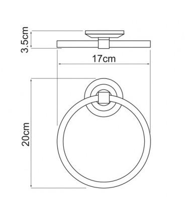 Держатель полотенец кольцо WasserKRAFT хром K-6260