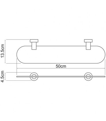 Полка стеклянная WasserKRAFT хром K-9424