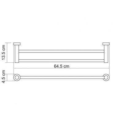 Штанга для полотенец двойная WasserKRAFT хром K-9440