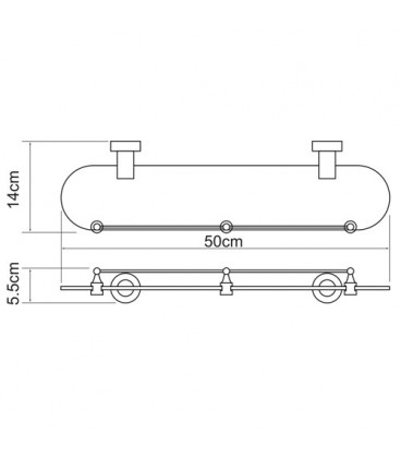 Полка стеклянная с бортиком WasserKRAFT хром K-9444
