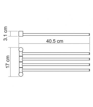 Держатель полотенец 4-е рога WasserKRAFT хром K-1034