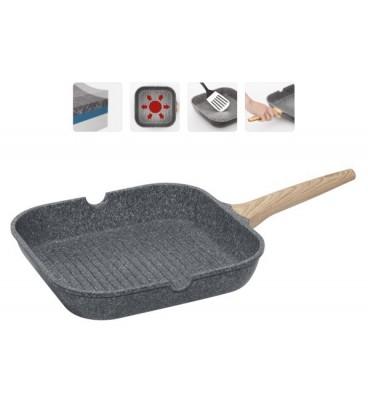 Сковорода-гриль с антипригарным покрытием MINERALIKA 28*28 см + щипцы