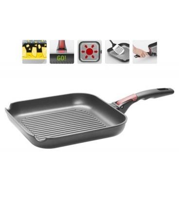 Сковорода-гриль с антипригарным покрытием и съемной ручкой VILMA 26*26 см + щипцы