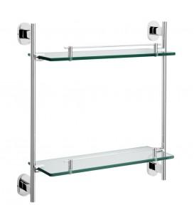 Полка для ванной двойная Raiber R50117 стеклянная