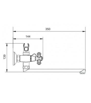 Смеситель для ванны Raiber Ventis с двумя рукоятками R7004