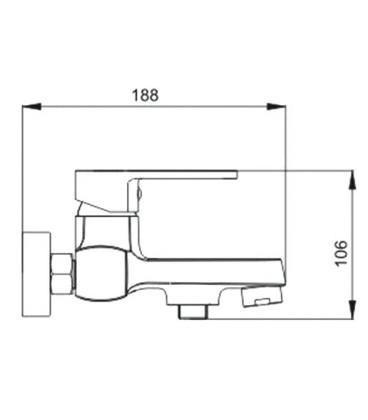 Смеситель для ванны Raiber Quattro однорычажный R6002