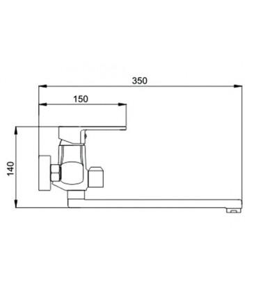 Смеситель для ванны Raiber Quattro однорычажный R6003
