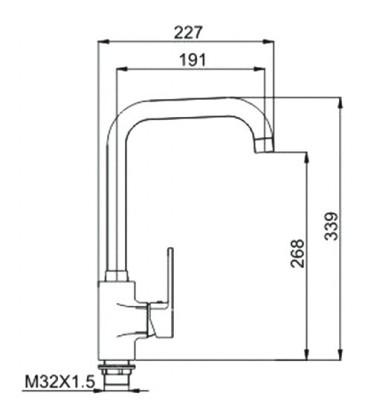 Смеситель для кухни Raiber Quattro однорычажный, боковой R6004